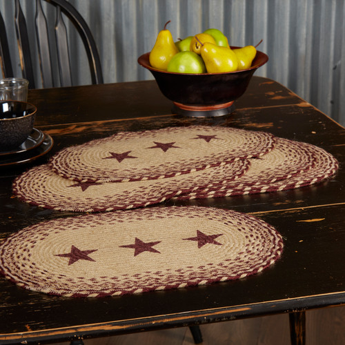Burgundy and Tan Jute Stenciled Star Placemats - Set of Six