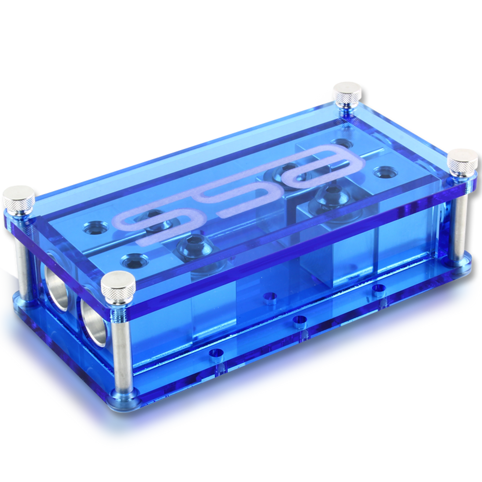 Machined aluminum Dual ANL fuse block - Blue on dc controller box, dc relay box, contactor box, dc switches box, dc switch box, dc power box, dc circuit breaker box, dc wiring box, dc panel box,