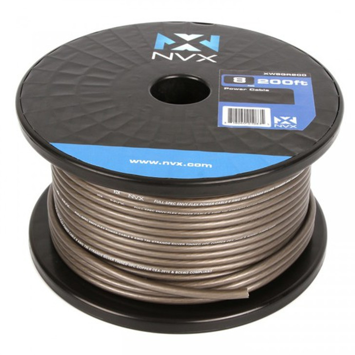NVX XW8GR200 8-Gauge Power/Ground Cable (Gray Color 200 Feet)