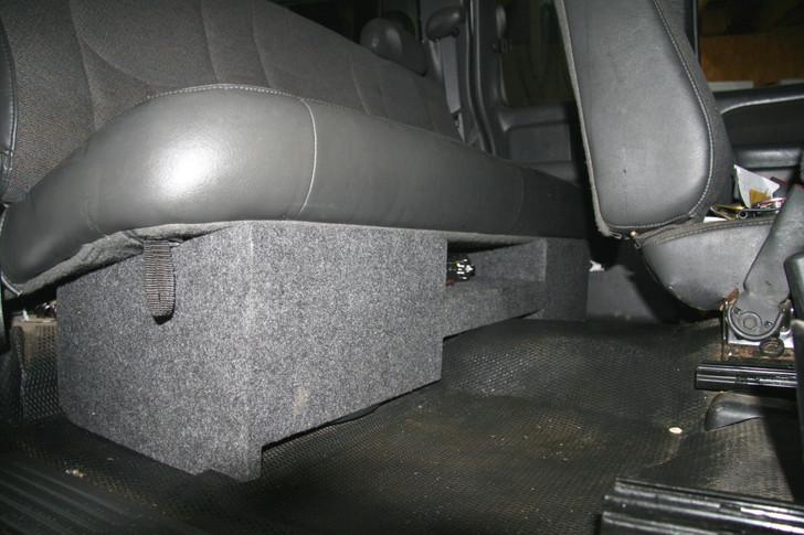 Dual Sub Box w/AMP RACK 1999-2006 GM SIERRA EXTENDED CAB DUAL SUB BOX AMP RACK