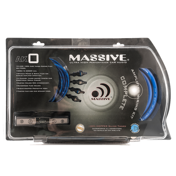 AK0 - 0 AWG FULL WIRE KIT SILVER TINNED 100% O2 FREE PURE TWISTED COPPER by Massive Audio®