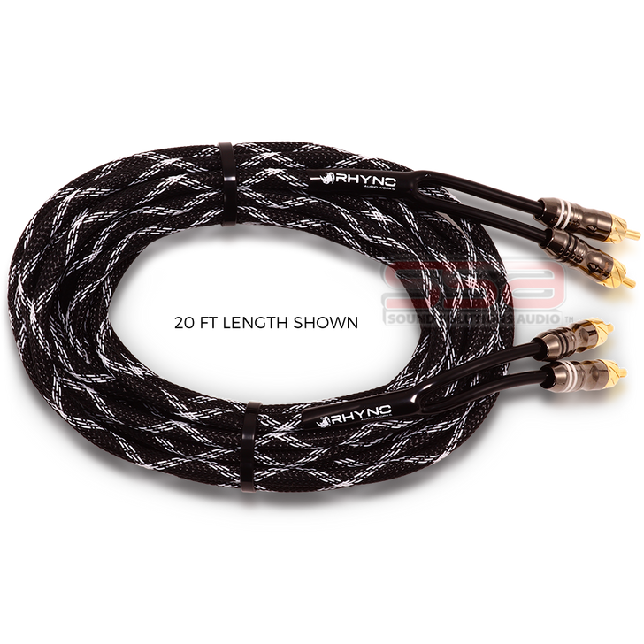 20 FT RHYNO Premium Braided RCA Cables