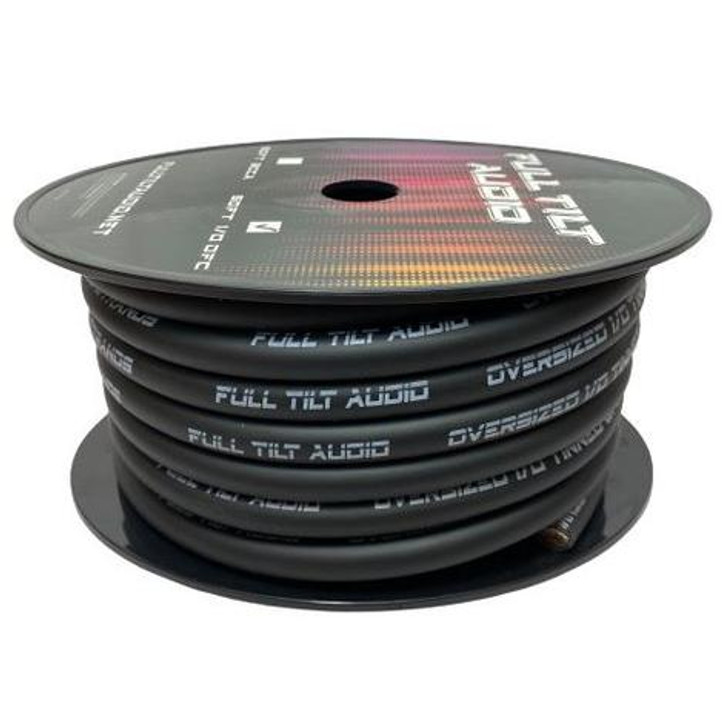 Full Tilt 1/0 BLACK 50' Tinned OFC Oxygen Free Copper Power/Ground Cable/Wire