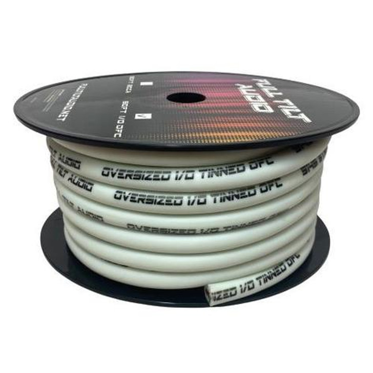 Full Tilt 1/0 White 50' Tinned OFC Oxygen Free Copper Power/Ground Cable/Wire