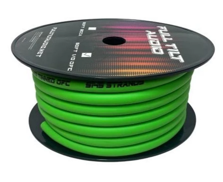 Full Tilt 1/0 Lime 50' Tinned OFC Oxygen Free Copper Power/Ground Cable/Wire