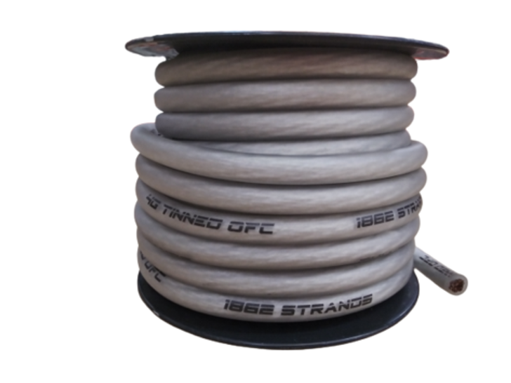 Full Tilt 4 Gauge Clear 50' Tinned OFC Oxygen Free Copper Power/Ground Cable/Wire