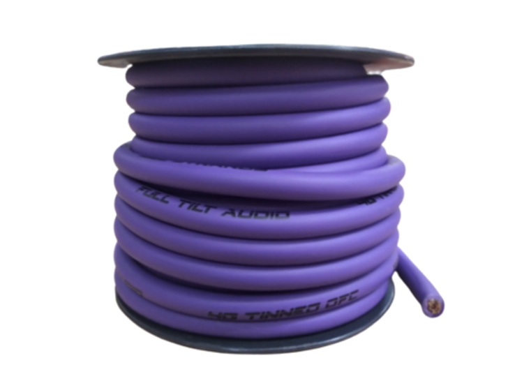 Full Tilt 4 Gauge Purple 50' Tinned OFC Oxygen Free Copper Power/Ground Cable/Wire