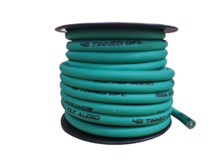 Full Tilt 4 Gauge Teal 50' Tinned OFC Oxygen Free Copper Power/Ground Cable/Wire