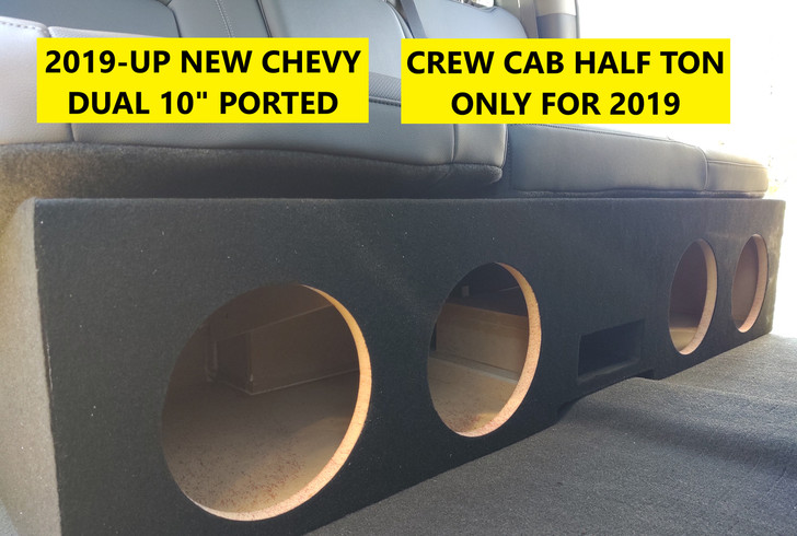 """2019 - UP SILVERADO CREW CAB QUAD 8"""" PORTED SUBWOOFER BOX"""