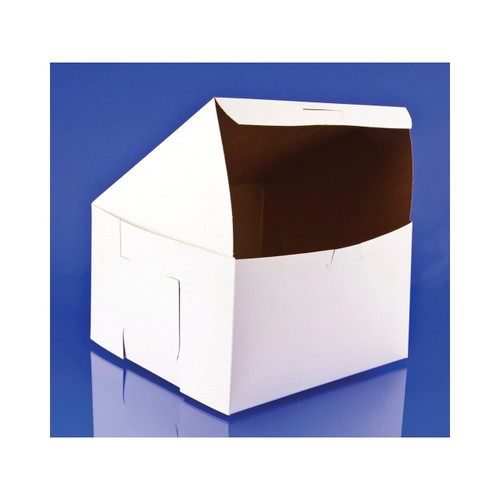 8x8x5 White Bakery Box Lock Corner 100ct