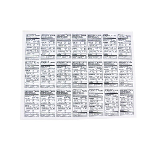 Custom Nutritional Labels 21ct/1 Sheet