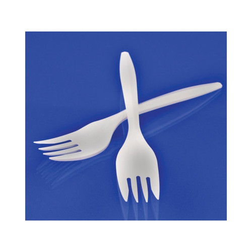 Medium Weight White Plastic Forks 1000ct
