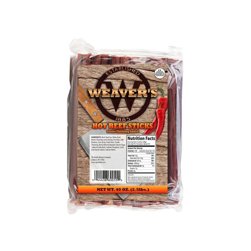 "7"" Hot Beef Sticks 150 ct. 2/2.5lb"