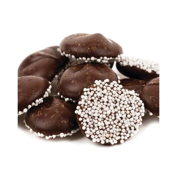 Dark Chocolate Nonpareils with White Seeds 8lb