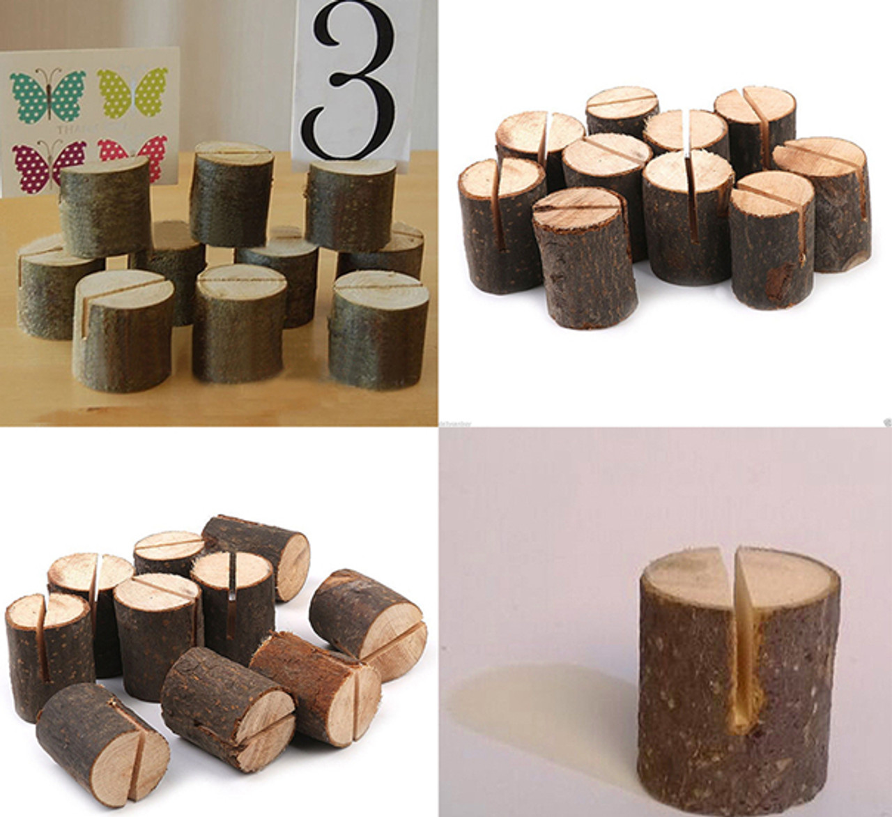 Wooden Base Rustic Wedding Table Number Place Card Stand Holder