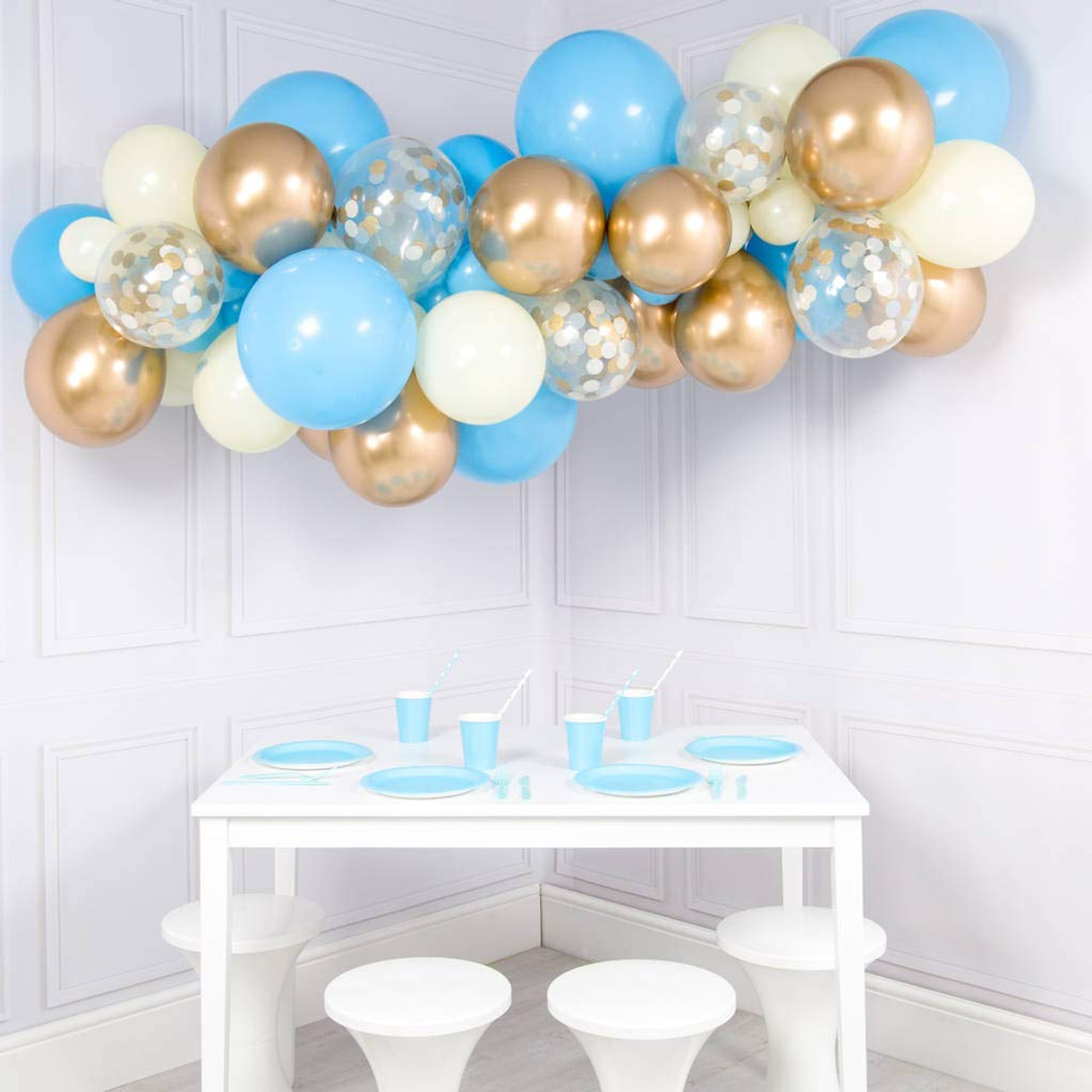 Balloon Garland Kit Blue Gold White And Gold Confetti 90pcs Party S R Us