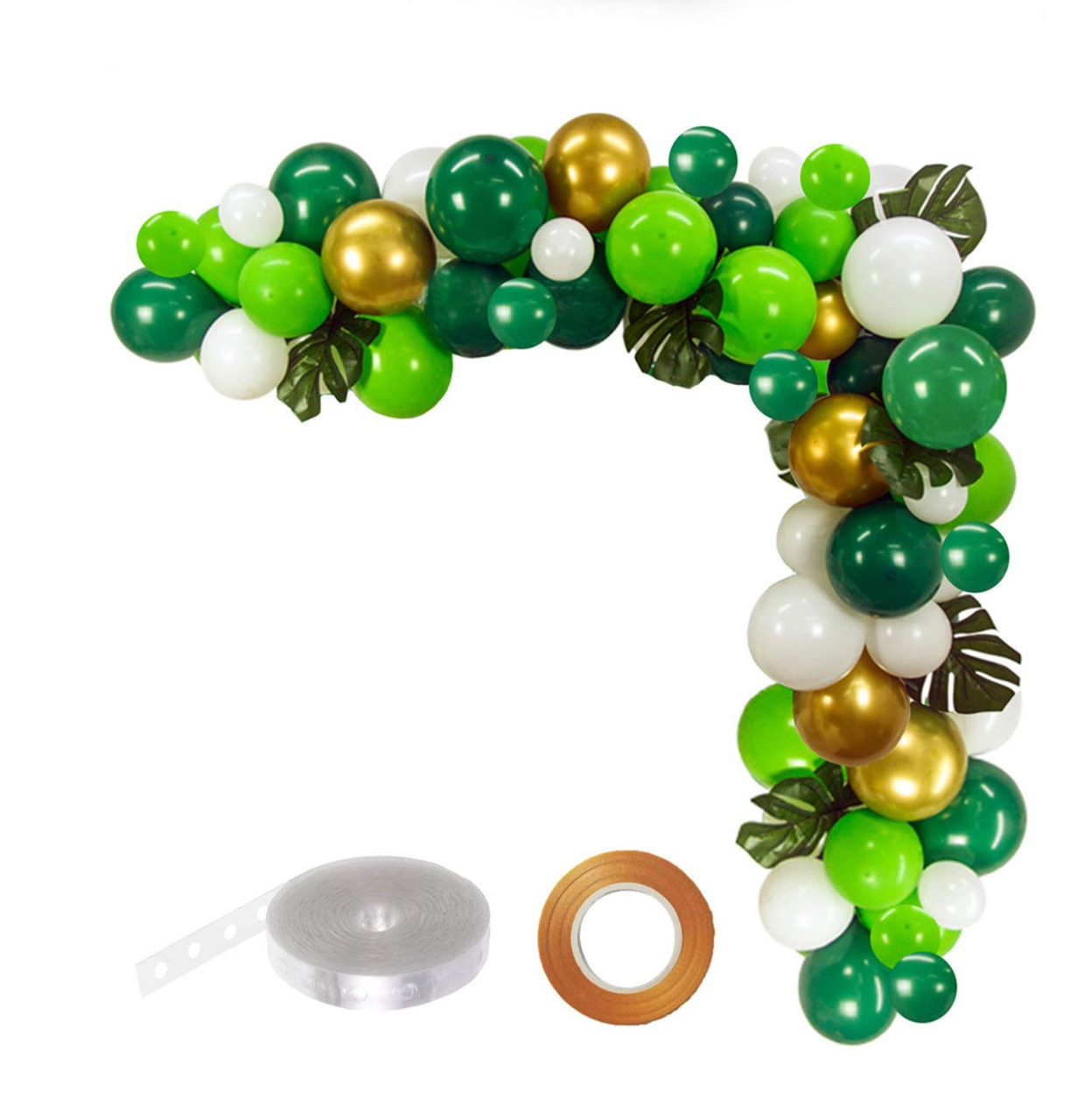 Jungle Balloon Garland Kit Green Gold Light Green And White 100pcs Party S R Us