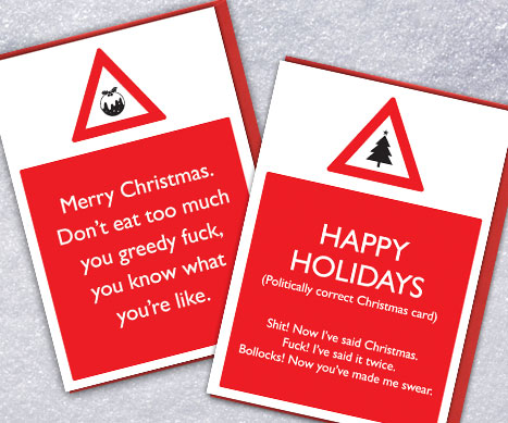 shop warning xmas cards