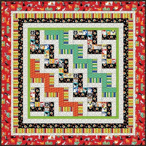"""A Cat Tale - Quilt #1"" Free Easy to Sew Quilt Pattern designed & from Studio e Fabrics"