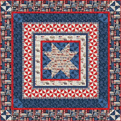 """All American Road Trip Quilt #2"" Free Patriotic Quilt Pattern designed by Heidi Pridemore from Studio e Fabrics"