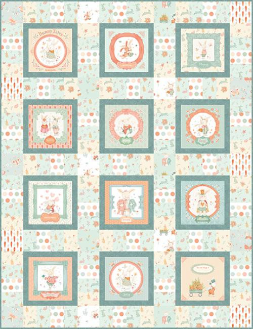 """Bunny Tales Quilt #2"" Free Easy to Sew Quilt Pattern designed & from Studio e Fabrics"