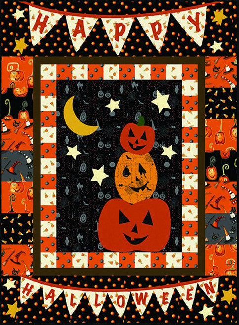 """Cheeky Pumpkin"" Free Halloween Quilt Pattern designed by Heidi Pridemore from Studio e Fabrics"