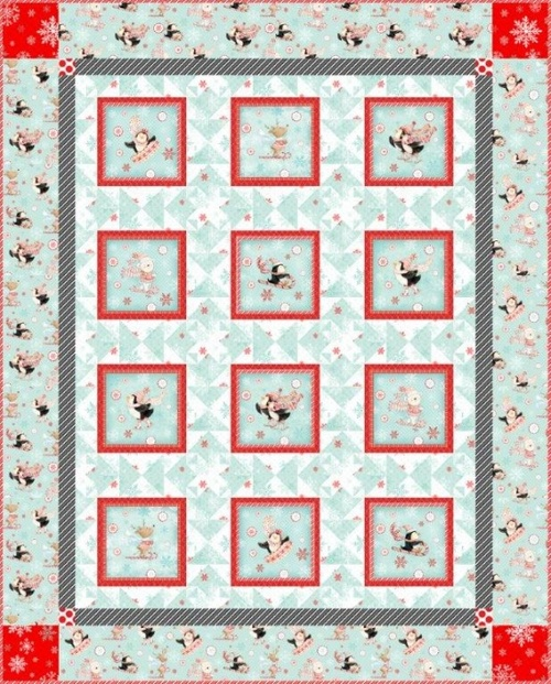 Peppermint Penguins Panel Quilt
