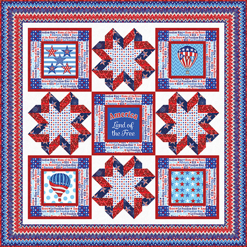 """America Home of the Brave"" Free Patriotic Quilt Pattern designed by Heidi Pridemore from Studio e Fabrics"
