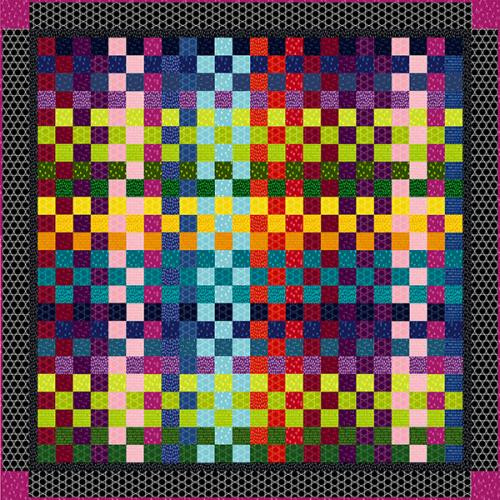 """Modern Batiks Quilt # 1"" Free Easy to Sew Quilt Pattern designed & from Studio e Fabrics"