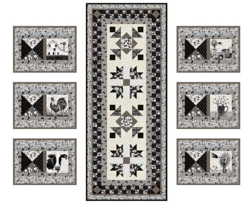 """""""Buttermilk Farmstead"""" a Free Table Top Quilted Pattern designed by Denise Russell from Studio e Fabrics"""