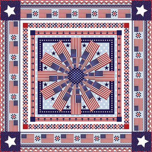 """American Style Quilt #1"" Free Patriotic Quilt Pattern designed by Megan Downer from Studio e Fabrics"