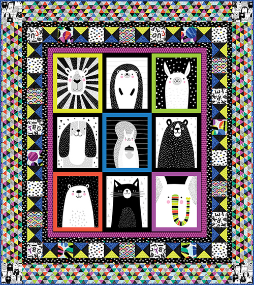 Black & White with a Touch of Bright Quilt #1