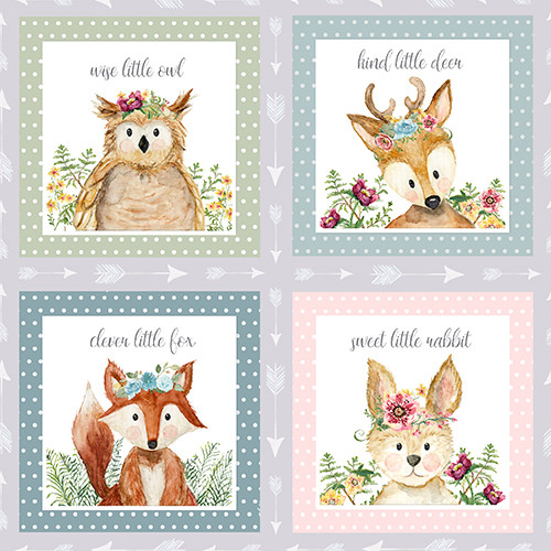 18672-Multi    3 Wishes Fabrics Forest  Friends - Girl