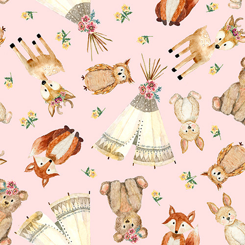 18673 Pink || 3 Wishes Fabrics Forest  Friends - Girl