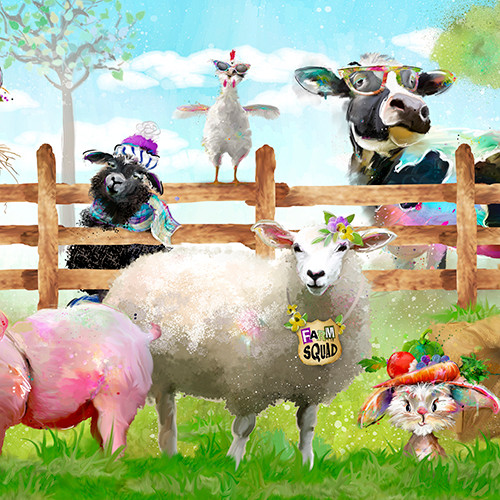 18727-Panel    3 Wishes Fabrics Welcome to the Funny Farm - Digital