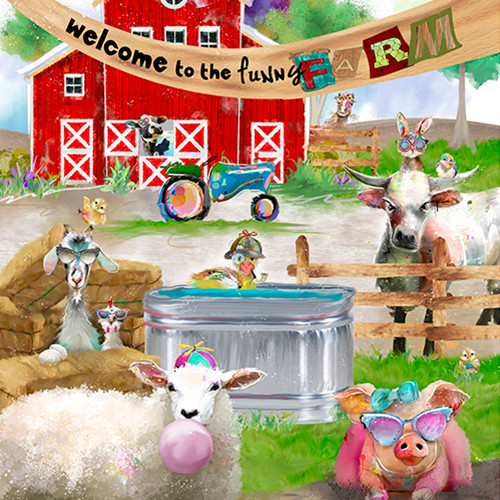 18729-Panel    3 Wishes Fabrics Welcome to the Funny Farm - Digital