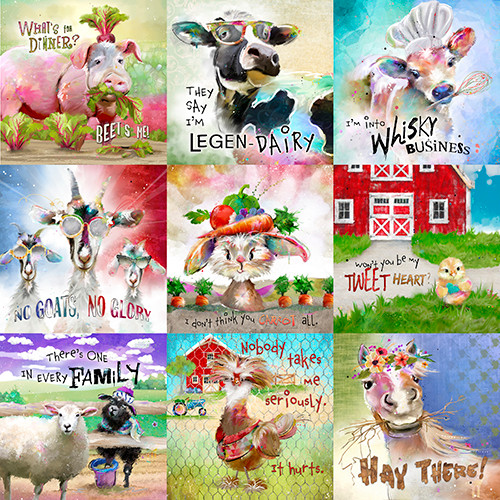 18731-Multi    3 Wishes Fabrics Welcome to the Funny Farm - Digital