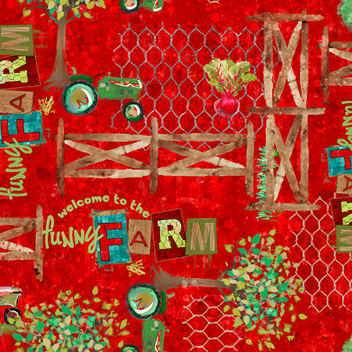 18735-Red    3 Wishes Fabrics Welcome to the Funny Farm - Digital