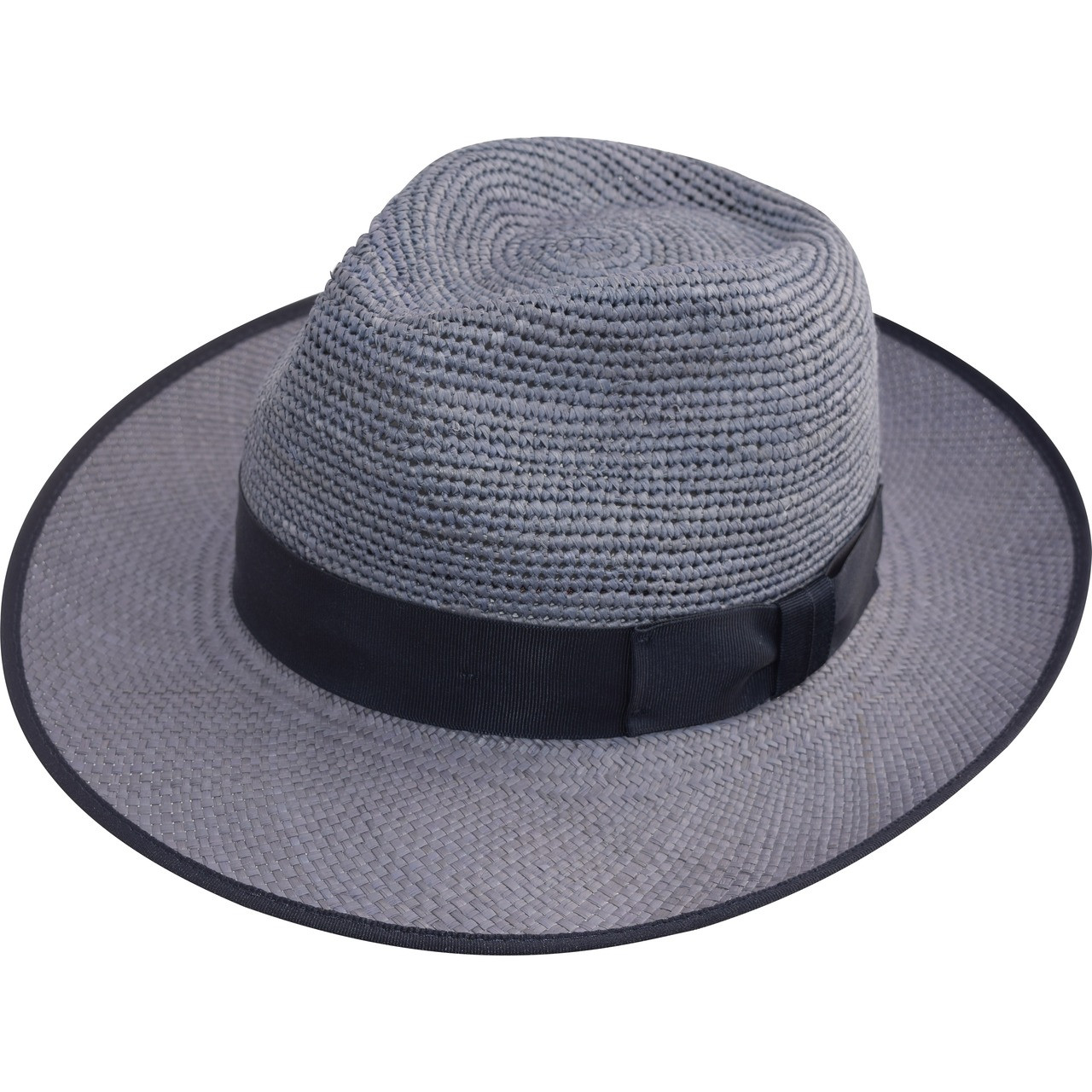eb3747a5 Trimmed Crochet Crown Snap Trilby panama Hat - Blue - The Panama Hat ...