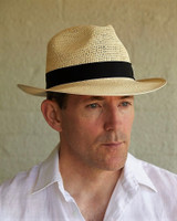 Crochet Crown Trilby in Vanilla with Black Band