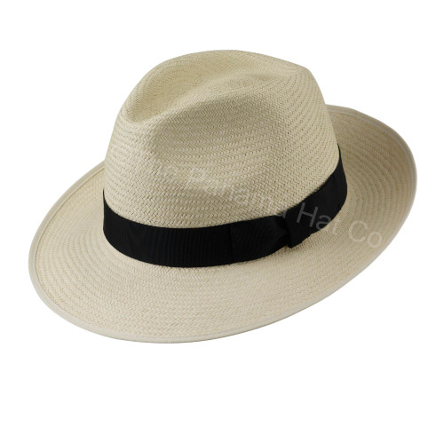 Snap Brim Trilby panama hat - shown in Cuenca 3/5 with black band