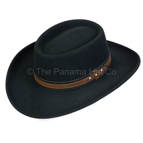 Felt Gambler with leather band - shown in black