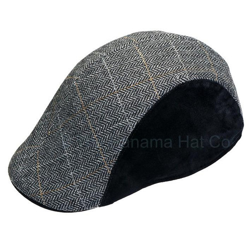 Duck-billed cap, in Grey Herringbone wool-blend and black side panels