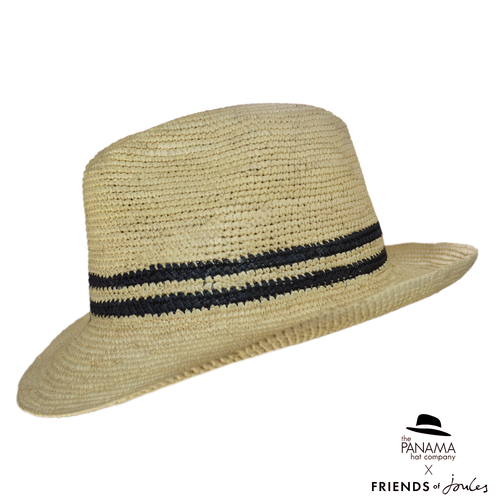Crochet Trilby Panama Hat with black stripe