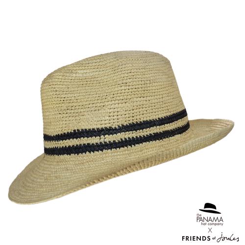 Crochet Trilby Panama Hat with black stripe