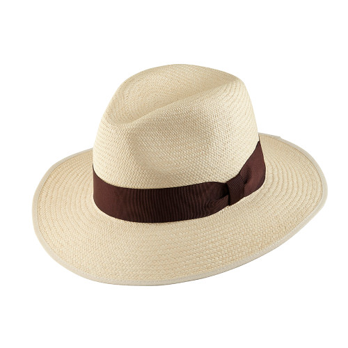Down Brim Trilby Panama Hat - OPORTO with Chocolate band