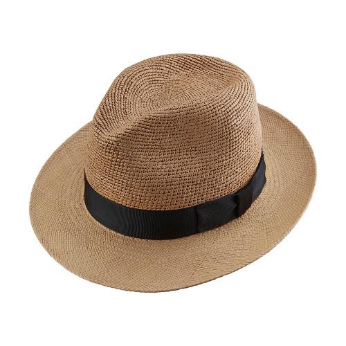 Crochet Crown Trilby Panama Hat - shown in Cinnamon