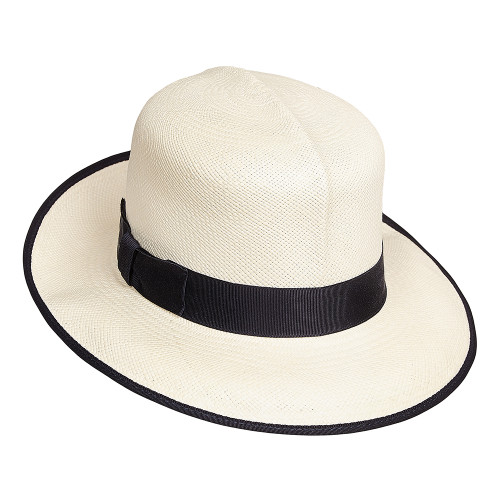 Ladies Folding Panama Hat with Navy edging