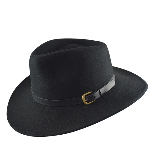 Unisex Teardrop Felt Fedora - Black or Grey
