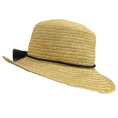 NEW Caramel Stripe Crochet Panama (shown with optional horse hair band)